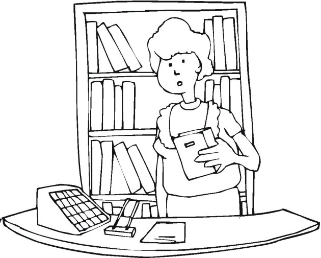 Free School And Education Coloring Pages Librarian Coloring Page